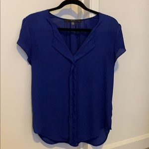 Split neck, tulip sleeve blue blouse